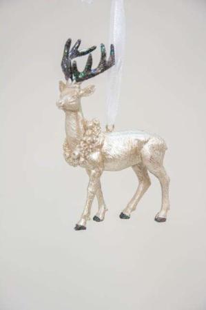 Rensdyr til ophæng med glimmergevir champagnefarvet