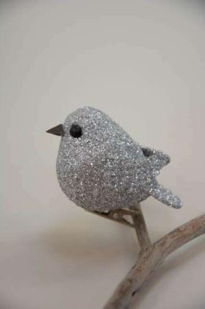 Sølv glimmer fugl på clips