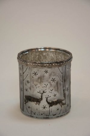 Sølv grå jule fyrfadsstage med motiv af rådyr