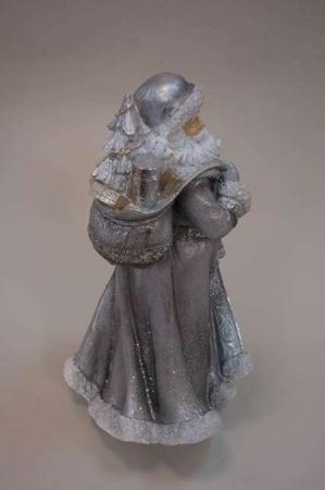 Sølv julemandsfigur med gavesæk over skulderen