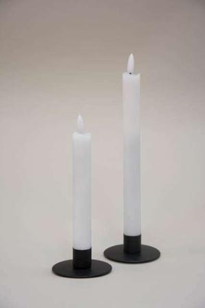 Små LED stearinlys med statisk flamme og timer funktion - hvid