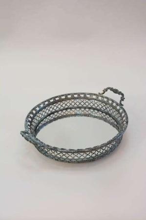 Sølv spejlbakke antik look. Spejlfad med hankfra la vida