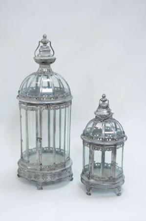 Antikke sølv lanterner med hank og fine detaljer