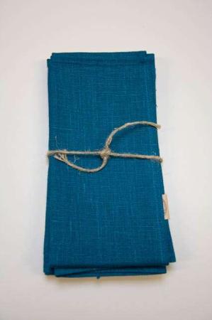 Blå stof servietter af hør