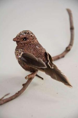 Brun deko fugl på clips. Dekorationsfugl med kobber glimmer.
