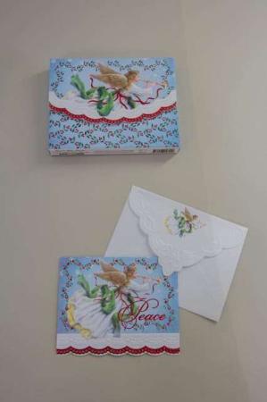 Fine julekort med engel trompet. Engel på julekort med kuvert.