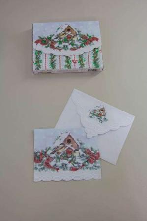 Fine julekort med vinter mejser. Fuglehus på julekort med kuvert.