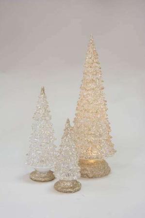 Glas juletræ med lys og guldglimmer