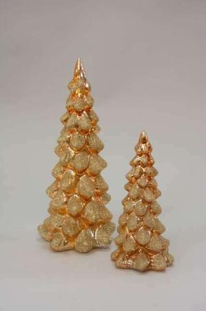 Glas juletræer med led lys og guld glimmer