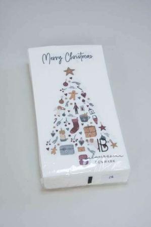 Hvid juleserviet med juletræ og julegaver. Servietter til juleaften