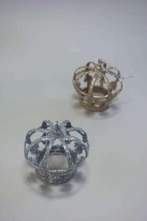 Juleophæng - kongekrone med sølv og guld glimmer