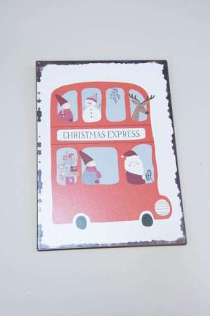 Juleskilt med julemanden i bus med nisser