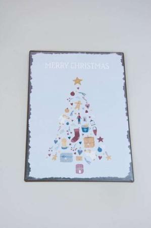 Juleskilt med juletræ og skrift. Merry christmas skilt