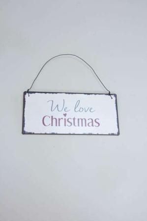 Juleskilt med tekst. We love christmas