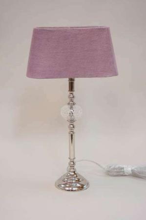 Lene Bjerre lampe - sølv lampefod med aflang lampeskærm