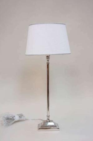 Lene Bjerre lampe - sølv lampefod med hvid lampeskærm - bordlampe