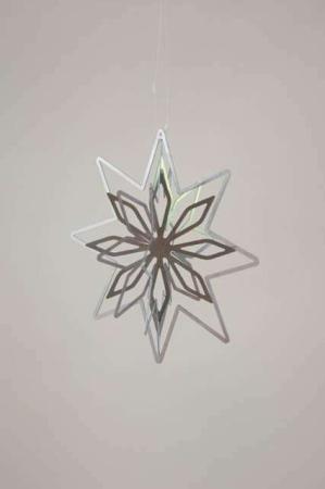 Lille 3D julestjerne - sølv