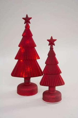 Rødt glasjuletræ med LEDlys. Lysende juletræ af glas. Julepynt 2020