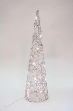 Sølvfarvet juletræ med lys
