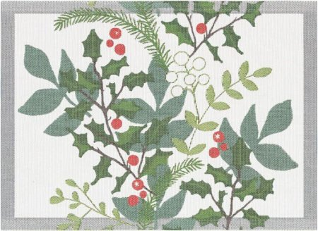 Viskestykke af økologisk bomuld fra Ekelund -JULIA. Mistelten bær og gran