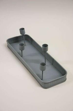 Zink adventsstage - firkantet zink bakke med 4 lysholdere