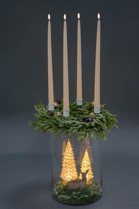 Adventskrans 2020 - elegant adventsdekoration i hurricane glas med glas juletræer