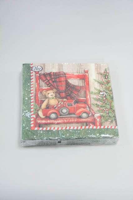 Jule frokostserviet med motiv af bil og bamse på stol - rød