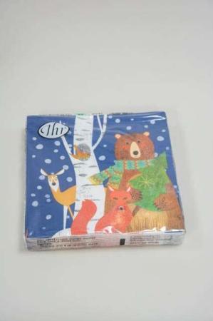 Jule frokostserviet med motiv af bjørn og træ