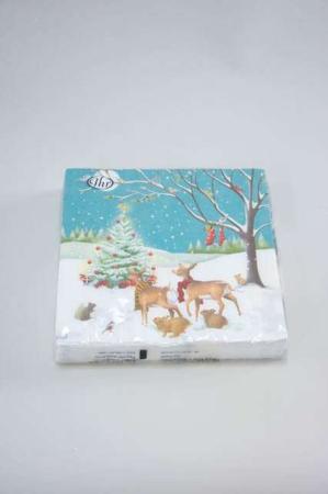 Jule frokostserviet med motiv af dådyr og juletræ