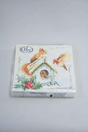 Jule frokostserviet med motiv af egern og hus