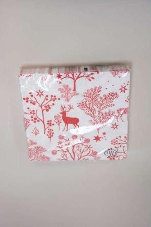 Jule frokostserviet med motiv af hjort -rød