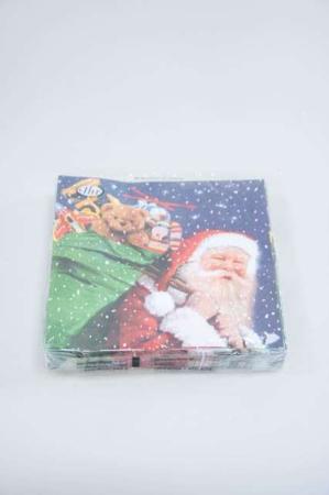 Jule frokostserviet med motiv af julemand med legetøj i sæk