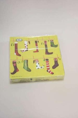 Jule frokostserviet med motiv af julesokker på snor