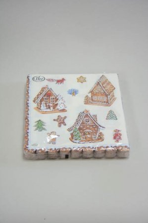 Jule frokostserviet med motiv af småkagehuse