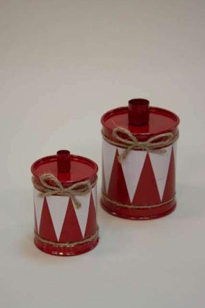 Julestage til bedelys og kertelys - rød juletromme