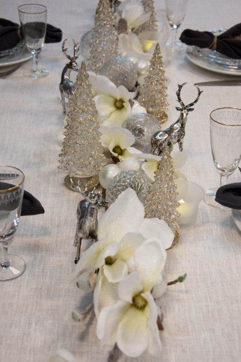 Bordpynt jul hvid sølv og guld