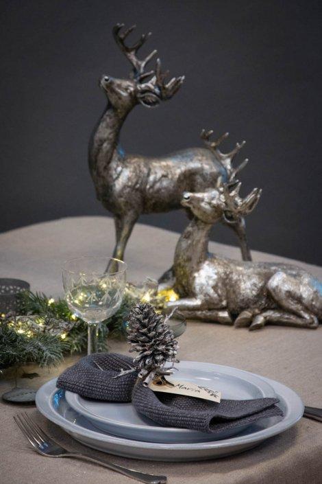 Bordpynt til jul - sølvfarvede rådyr