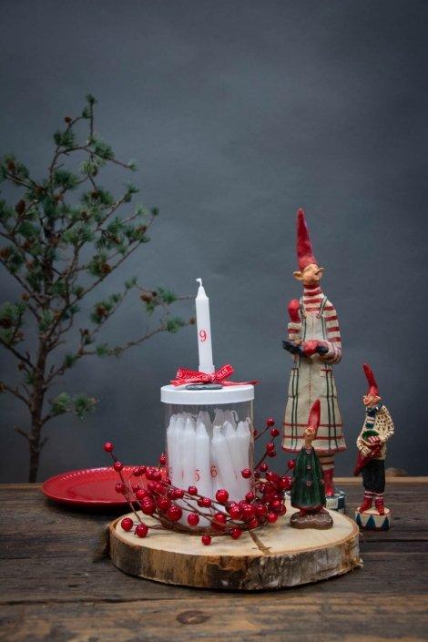 Juledekoration i glas med små kalenderlys