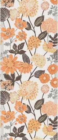 Bordløber af økologisk bomuld fra Ekelund - BODUM. Orange beige blomster