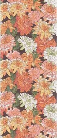 Bordløber af økologisk bomuld fra Ekelund - FÄRJBÄCK. Gule røde rosa blomster