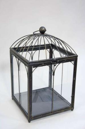 Deko fuglebur med glas i siderne
