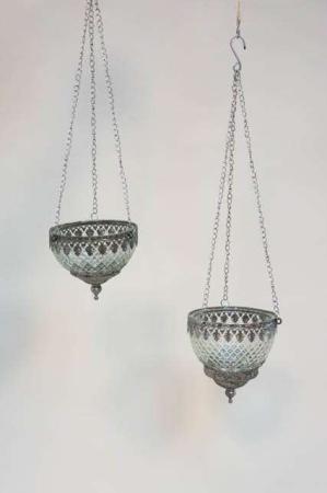 Glas ampler med sølv kant - indendørs