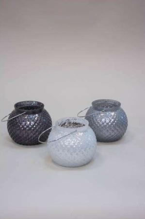 Glas bowle med hank til ophæng - fyrfadsstage grå og hvid