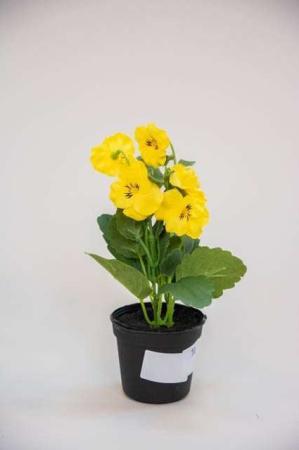 Kunstig gul stedmoderblomst i potte