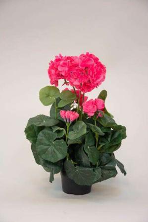 Kunstig pelargonia i potte - lyserød