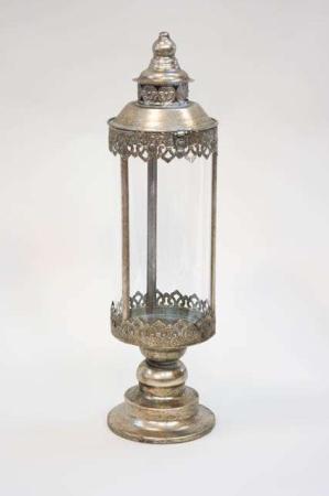 Lanterne på fod - antik sølv look