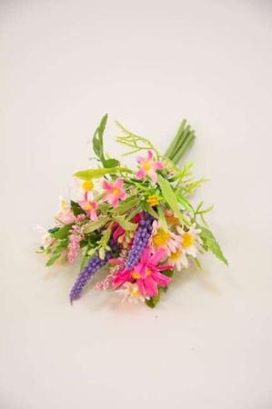 Lille kunstig buket af sommerblomster