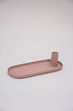 Metal lysestage med bakke - rosa