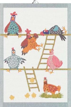 Økologisk køkken håndklæde fra Ekelund med motiv af høns - påske