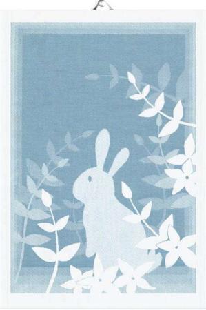 Økologisk køkken håndklæde fra Ekelund med motiv af påskehare - påske håndklæde